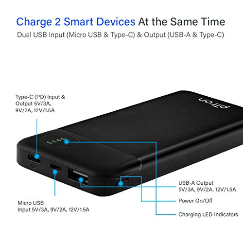 pTron Dynamo Pro 10000mAh 18W QC3.0 PD Power Bank, Made in India, Fast Charge, Type-C & Micro USB Input Ports, with 18W Type C Mini Cable for Smartphones & Other Smart Device - (Black)
