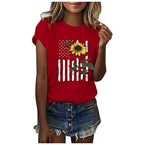 iHENGH Damen Top Bluse Lässig Mode T-Shirt Frühling Sommer Bequem Blusen Frauen Women Girls Plus Size Print Tees Shirt Short Sleeve T-Shirt Blouse Tops (Rot, S)