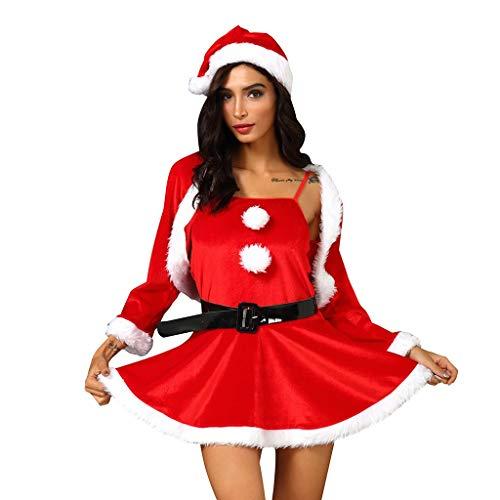 Kviklo Frauen Weihnachten Party Cosplay Minikleid Patchwork Abendkostüme Gr. XXL, Rot 6