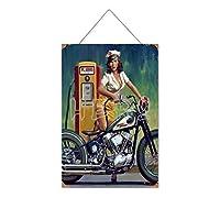 1943年のオートバイのピンナップガール木製のリストプラーク木の看板ぶら下げ木製絵画パーソナライズされた広告ヴィンテージウォールサイン装飾ポスターアートサイン