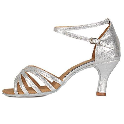HIPPOSEUS Mujer Latino Zapatos de salón de Baile, Puntas Abiertas,MF1810-6-7,Plata Color,EU 36