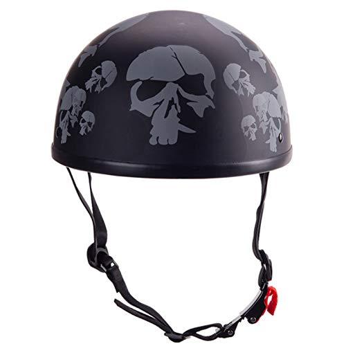 Medio Casco De Motocicleta Retro,Unisex Casco De Medio Para Moto Crucero Chopper Retro Medio Casco Con Gafas ECE Homologado Skull,M