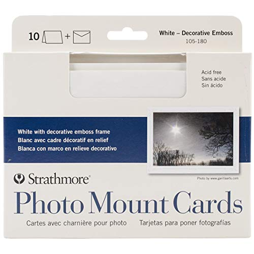 Strathmore Photo Mount Cards and Envelopes White Embossed Package Of 10, 5 x 6.875 Inch