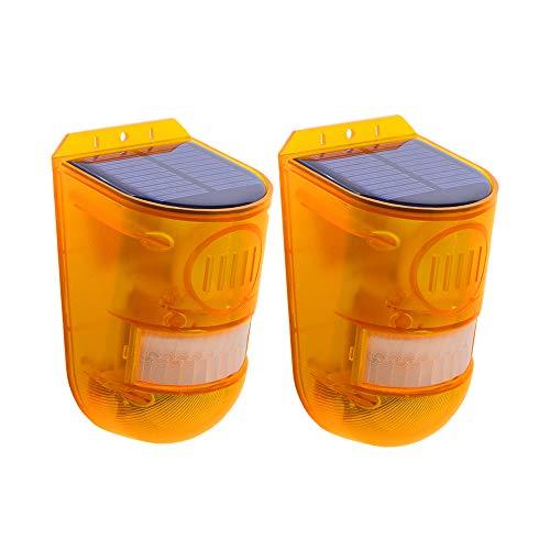 MOZUN Sirena de seguridad solar, inalámbrica IP65 impermeable con sensor de movimiento LED IP65, batería incorporada, advertencia de ahorro de energía de 110 dB con luz solar