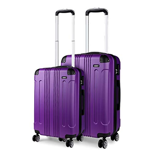 Kono Set of 2 Lightweight ABS Hard Shell Suitcase 20' Carry-on Hand Cabin Suitcase + 24' Check in Luggage with 4 Spinner Wheels (Purple)