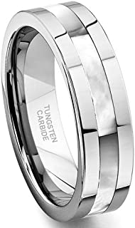 Tungsten Carbide Mother of Pearl Inlay Wedding Band Ring Size 7-13