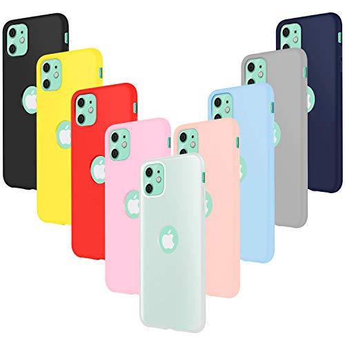 Leathlux 9 Pack Funda Compatible con iPhone 11, 9 Unidades Caso Juntas Fina Silicona TPU Flexible Colores Carcasas Compatible con iPhone 11