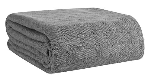 GLAMBURG 100% Cotton Bed Blanket, Breathable Bed Blanket Queen Size, Cotton Thermal Blankets Full -...
