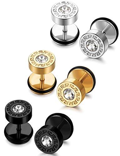 FIBO STEEL 3-4 Pairs Stainless Steel Mens Stud Earrings for Men Women Ear Piercing Plugs Tunnel
