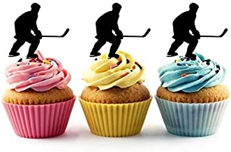 TA0859 Ice Hockey Player Silhouette Party Wedding Birthday Acrylic Cupcake Toppers Decor 10 pcs