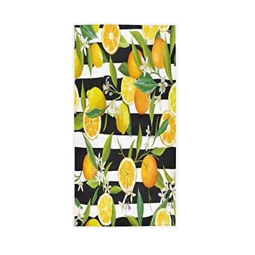 NBHBVGFC Toalla de baño suave tropical con diseño de hojas de limón sobre rayas para hotel, spa, gimnasio, gimnasio, 76,2 x 38,8 cm