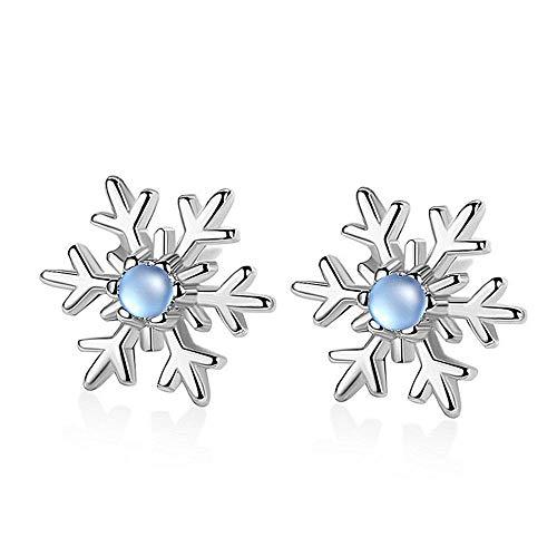Pendientes de plata de ley S925 con forma de copo de nieve, de buena calidad, pequeños pendientes de joyería para mujeres y niñas, aniversario, boda, día de la madre, regalo de cumpleaños de Navidad