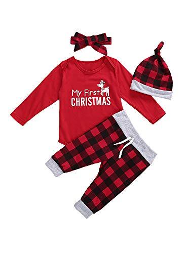 4Pcs/Set Toddler Girl Boy Christmas Costume Rompers Top + Red-Black Plaid Pants + Hat + Hairband (Elk, 3-6 Months)