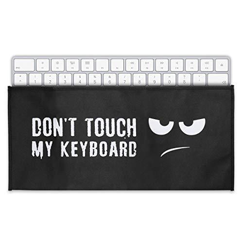 kwmobile Hülle kompatibel mit Universal Keyboard - PC Tastatur Schutzhülle - Keyboard Staub Cover Case Don\'t Touch My Keyboard Weiß Schwarz