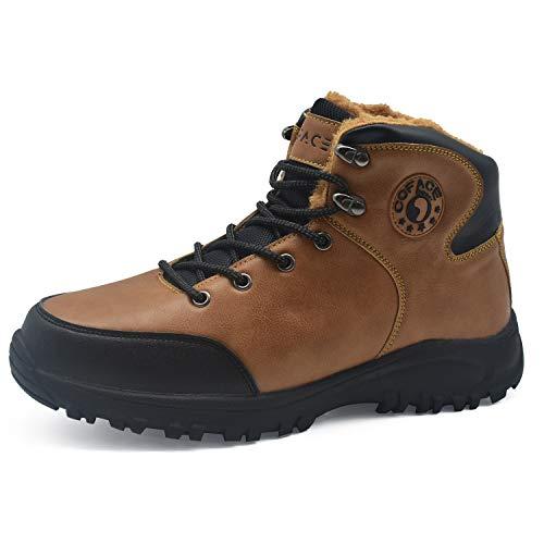 COFACE Hombre Invierno Nieve Senderismo Botas de Cuero cálida Piel sintética Forrada al Aire Libre Zapatos para Caminar