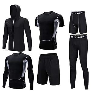 コンプレッションウェア セット ジムトレーニングスポーツウェア男性を実行している秋のメンズフィットネス服六ピース新速乾性タイツ (Color : B, Size : XXXL)