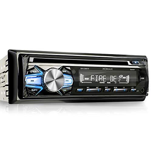 XOMAX XM-CDB618 Autoradio mit CD-Player + Bluetooth-Freisprecheinrichtung & Musikwiedergabe + 3 Farben einstellbar (Rot, Blau, Grün) + USB-Anschluss (bis 128 GB) & SD-Kartenslot (bis 128 GB) für MP3 und WMA + AUX-IN + Diebstahlschutz: abnehmbares Bedienteil + Single-DIN / 1-DIN Standard-Einbaugröße + inkl. Fernbedienung, Schutzhülle, Blende & Einbaurahmen