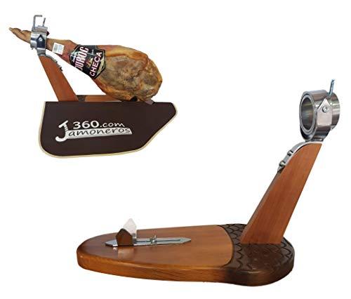 Dreamstone Soporte jamonero Modelo Bellota con Cabezal reclinable y Giratorio + cubrejamones de Regalo