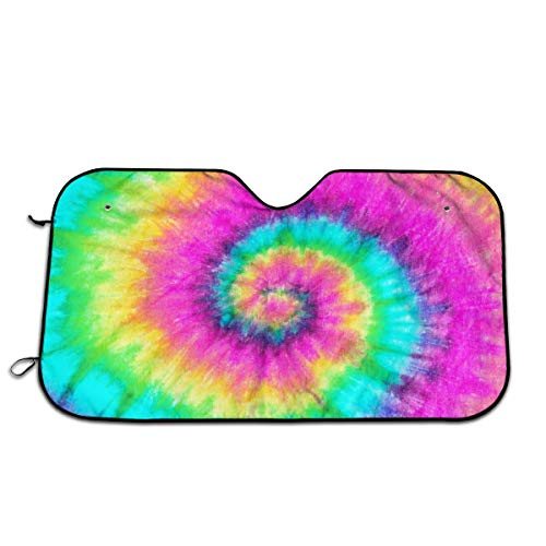 ADOUGEDU Colorful Tie Dye - Windshield Sunshade for Car SUV Truck - Foldable Uv Ray Reflector Front Window Sun Shade Visor Shield Cover 51