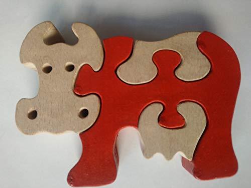 Rompecabezas puzzle de madera vaca hecho a mano ganado animal de granja regalo de juguete para niños vacas masivas de madera de haya