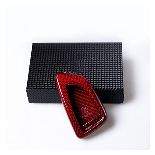 PREPP Funda de tecla remota Fob Cubierta DE Cubierta Ajuste para BMW X1 F48 X5 F15 X6 Fibra de Carbono Rojo (Color Name : Red)