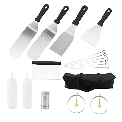 16PCS Barbecue Tool Kit, Stainless Steel Grilling Utensils with Spatula Tongs Sticks Barbecue Accessories for Outdoor and Indoor