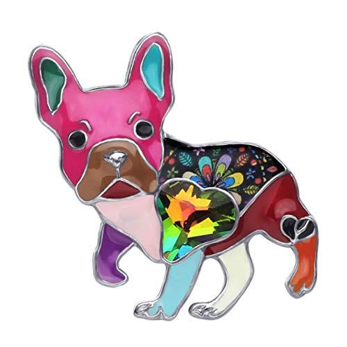 NEWEI Enamel Alloy Rhinestone French Bulldog Pug Dog Brooch Pin Fashion Cute Animal Jewlery for Women Girls Gift Clothes