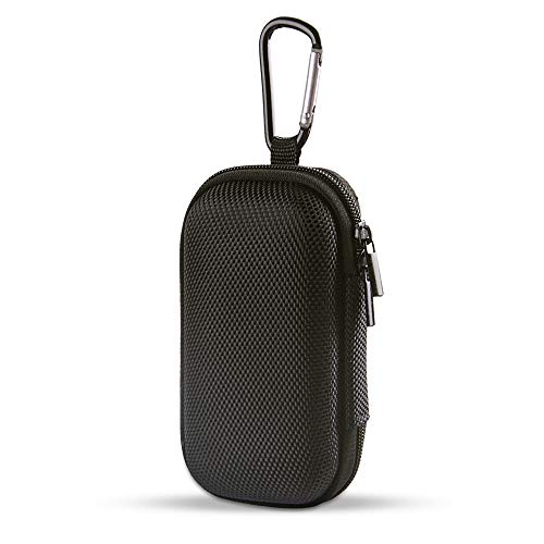 Portable Hard EVA Case, Hootek Protective Hard Shell Travel Carrying Case Bag with Dual Zipper and Metal Carabiner for MP3 Players, USB Cable, Earphones, Memory Cards, U Disk, Lens Filter, Keys, Coins