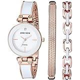 Anne Klein Women's Genuine Diamond Dial Rose Gold-Tone and White Bangle Watch with Bracelet Set, AK/3346WRST
