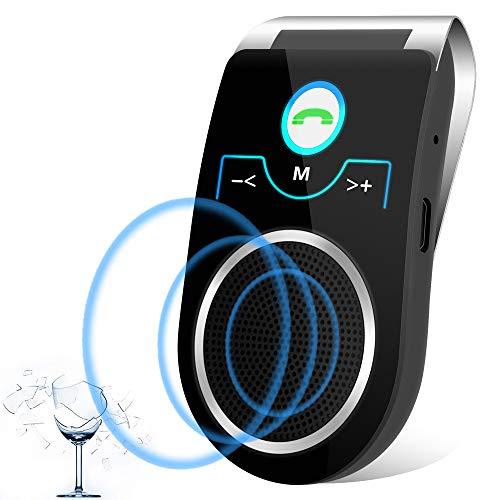 Aigital [Versión Español] Bluetooth Manos Libres Coche Kit Wireless Bluetooth 4.1,reducción de Eco y Ruido de Fondo para la Visera GPS y A2DP música,Universal,Soporta conectar Dos teléfonos