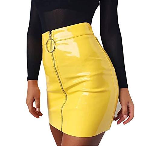 Minifalda de Mujer con Cremallera Falda de Cintura Alta Lápiz Corto Elegante Moda (Amarillo, S)