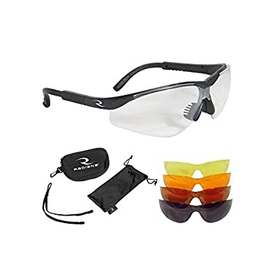 Radians T-85 Glasses with Case/Cloth Bag/Neck Cord, Black Frame, Clear/Copper/Amber/Orange/Green Mirror Lens