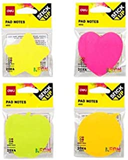 Deli EA03202 Shape Sticky Notes, 76 x 76mm, Assorted (Box of 12)