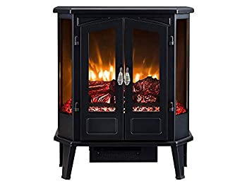 HEARTHPRO 5-Sided Infrared Stove Fireplace Heater   Electric Fireplace Stove Heater Freestanding Indoor Realistic Flame Logs Effects and Overheating Safety  Black