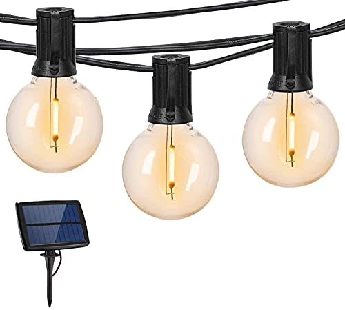 Guirnaldas Luces Exterior Solar con USB Micro GLURIZ Guirnaldas Luminosas 25+2, G40 Bombillas, 15M, Base E12, 4 Modos Luz, IP65 Impermeable, 2 Modos de Potencia, Luces Decorativas Ideal para Jardín, Terraza, Patio, Exterior, Navidad