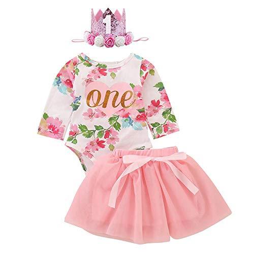 FYMNSI - Conjunto de 2 piezas para niñas, diseño floral de manga larga, falda tutu 1 año, fiesta, ropa de primer cumpleaños, fiesta de ceremonia, vestido de fotografía Rose (avec Bandeau) 12-18 Meses