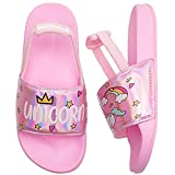 WateLves Toddler Boys Girls Sandals with Back Strap for Kids Slides Beach Swim Water Shoes (Unicorn/Pink-20/21)