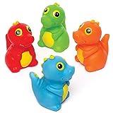 Baker Ross- Dinosaurios que lanzan agua (Pack de 4) Juguetes de goma que flotan con diseños variados ideales para la hora del baño o para actividades acuáticas