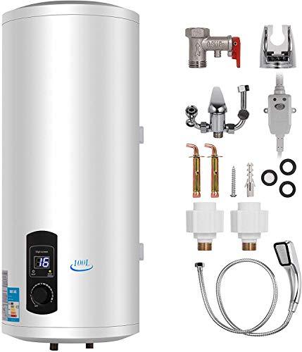 Anciun 120L Elektrospeicher Warmwasserspeicher Boiler, Wandhängender Boiler Tank Warmwasserbereiter mit Duschkopf und Zubehör