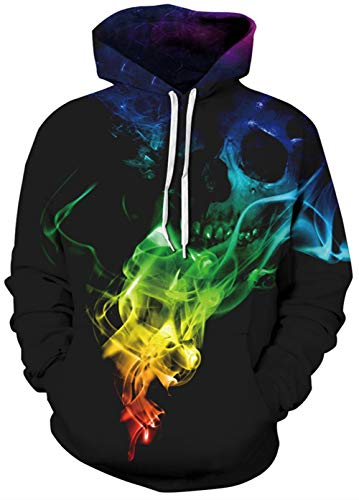 Unisex Plus Size Fleece Hoodie Jackets for Women Men Funny Skeleton Skull Printed Multi Color Smoking Black Long Sleeve Warm Baggy Rave Hooded Sweatshirts for Femal Bro Winter Casual Outfits XXXL 3XL