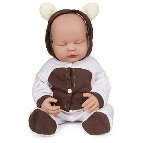 Vollence 46cm Dormir Muñeca Bebé de Silicona Cuerpo Entero,no Son Muñecas de Vinilo, Muñecas Reales Silicona de bebé, Muñeco bebé Realista de Silicona,Muñecas de recién Nacido Silicona - Niña