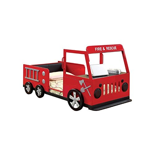 Furniture of America Jennen Twin Metal Fire Truck Bed in Red
