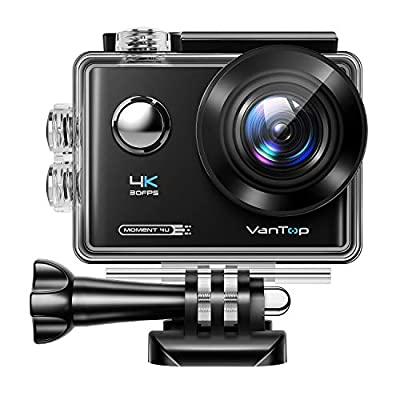 VanTop Moment 4U 4K Action Camera 20MP Underwater Waterproof Camera with EIS, External Microphone, Touch Screen, Slow Motion, 170° Wide Angle Sports Cam w/Gopro Compatible Accessories, 2 Batteries by VanTop