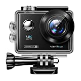 VanTop Moment 4U 4K Action Camera 20MP Underwater Waterproof Camera with EIS, External Microphone, Touch Screen, Slow Motion, 170° Wide Angle Sports Cam w/Gopro Compatible Accessories, 2 Batteries