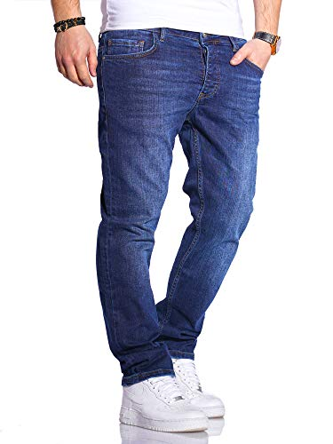 Rello & Reese Herren Jeans Straight Fit Denim Hose Regular Stetch JN-221 [Blau-6, W36/L32]