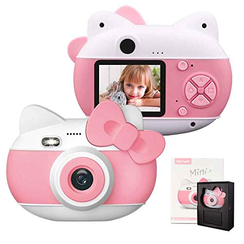 """le-idea Cámara para niños Cámara de Fotos Digital 12MP Recargable Cámara 1080P HD Video cámaras para Niños Niñas con Zoom Digital 4X, 2"""" IPS, os Regalos Cumplea, Navidad (Rosa)"""