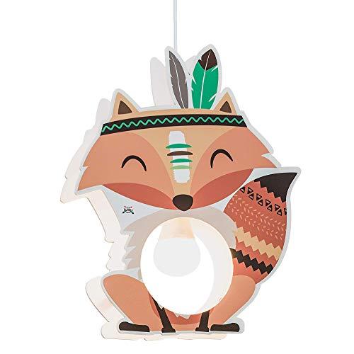 Elobra Little Indians - Lampada a sospensione per bambini, in legno, 40 W, colore: Arancione