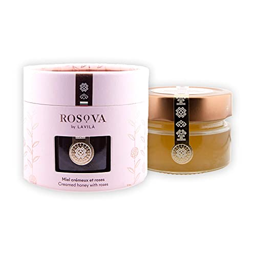 Miel de rosa orgánica Rosova a base de rosa de Damasco - miel fina de Bulgaria con pétalos de rosa reales 150g, cremosa, natural