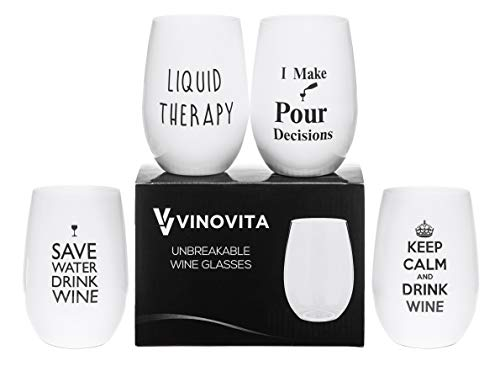 VINOVITA Funny Wine Glasses (Set of 4) Unbreakable Stemless and Durable |...