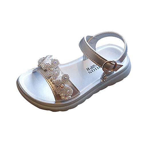 Julhold Zapatos de playa para niños con diamantes de imitación sandalias casuales de mariposa para niños, color Plateado, talla 32 EU
